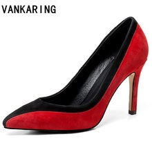 VANKARING 2018 newset scrub leather women shoes high heels pointed toe red  platform shoes woman dress 63ece2bb7a94