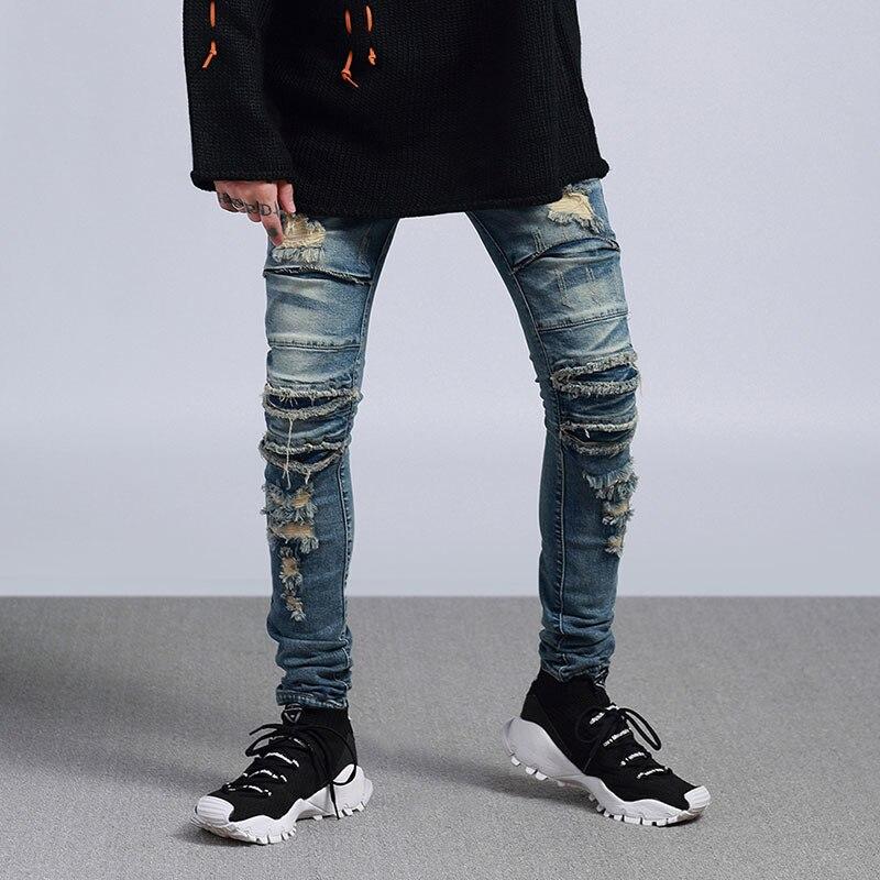 Europe et amérique haut street hole jeans lavé rock vieux genou couteau coupe pieds hommes denim pantalon mode jeans
