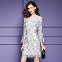 New Arrival 2017 Summer Brand Fashion Women Sexy V Neck Cut Out Cold Shoulder Flare Sleeve