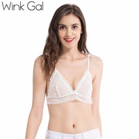 Wink Gal 2017 New Arrival Vintage Bra Comfortable Solid Color Brassier Lace Young Push Up Lingerie