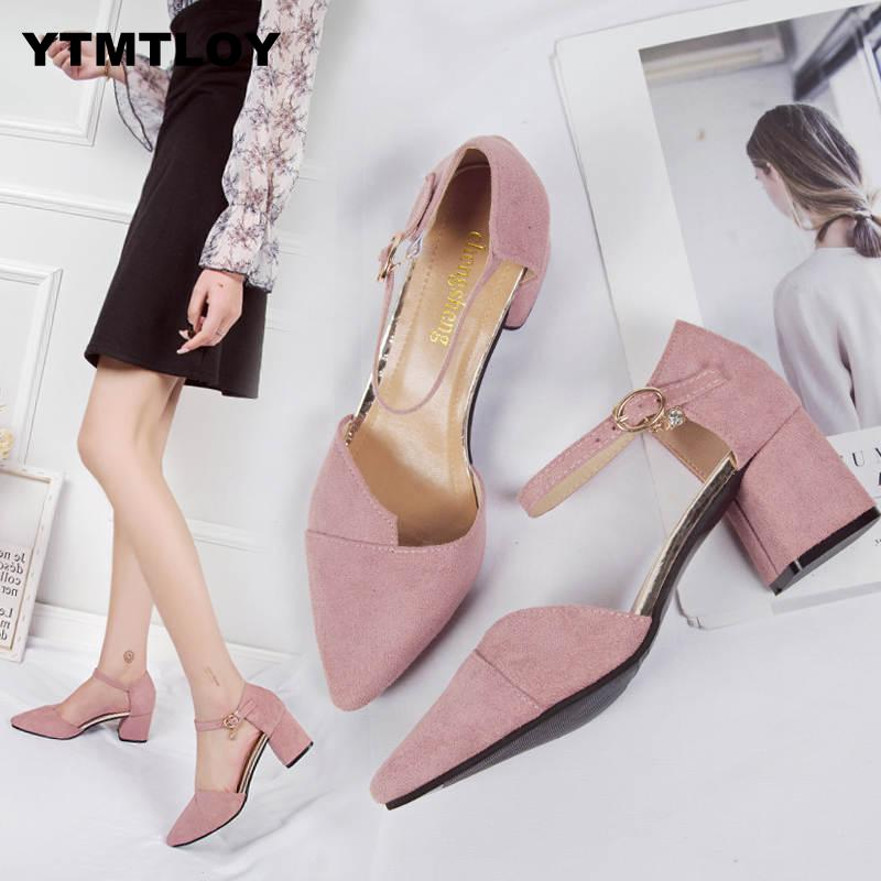 HOT Summer New Women Thick With Shallow Colorblock Women Shoes Pointed Toe Pumps Dress High Heels Comfortable Single Luxury