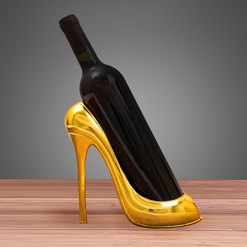 European High heeled Wine Rack Cabinet Christmas Decoration Resin Crafts Living Room Gold Silver Home Decoration Accessories
