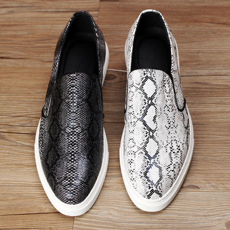 White Snakeskin Slip On Shoes