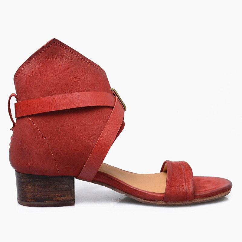 Correa Señoras Mujer Aguja Diseño Cuadrados Red Zapatos 5 Tobillo Cm Mujeres Bohe Sandalias Verano Femme Vintage Tacones Suede wYfxqpqF8