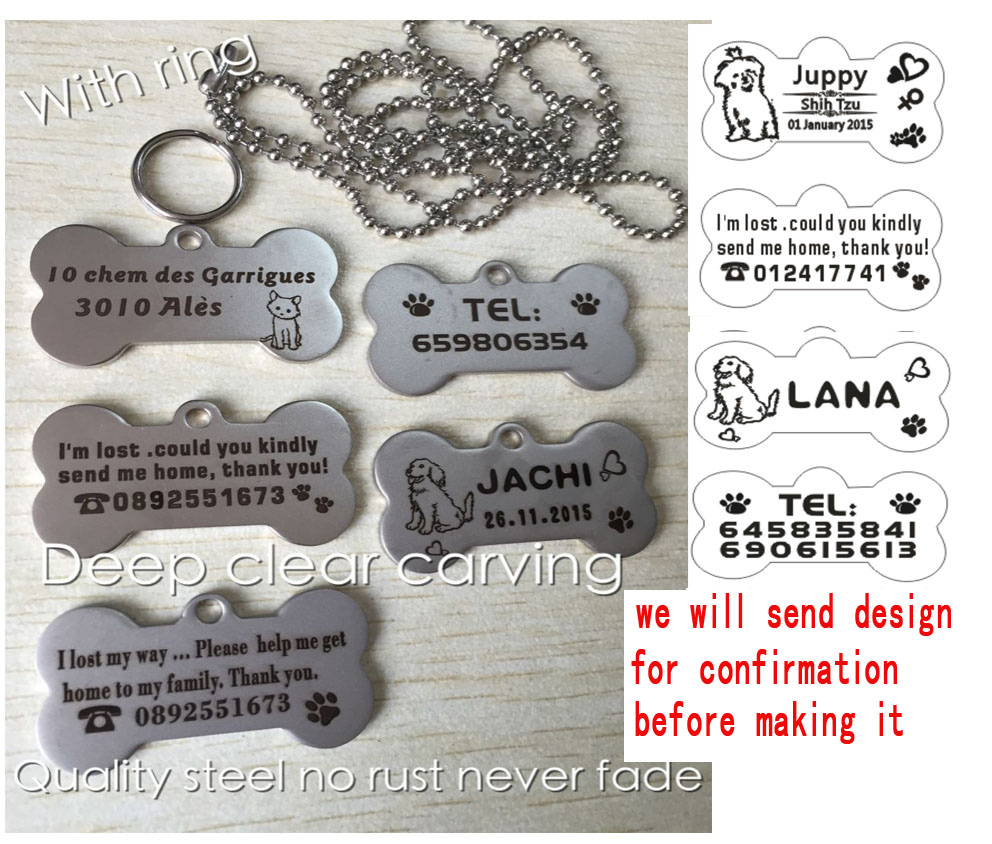permanent stainless steel engraving carve dog name tel padent plate tag 2X4CM pet memory souvenir get home tag