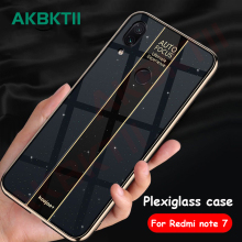 AKBKTII Case For Xiaomi Redmi note 7 pro Case Plexiglass Mirror Full Protection Anti-knock TPU Soft Back Cover For Redmi 7 case полотенце dream time dream time mp002xu0e6nk