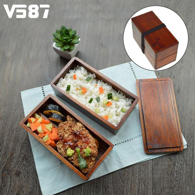 Traditional Wooden Bento Box Sushi Lunch Box Double 2 Layers Portable Home Office Food Meal Prep & Traditional Wooden Bento Box Sushi Lunch Box Double 2 Layers ... Aboutintivar.Com