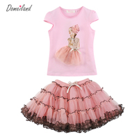 2016 Fashion Summer Children Clothing Princess Girl Boutique Outfits Sets Valentines Ruffle Tops Short Lace Tutu