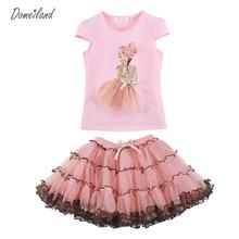 2017 mode domeiland d'été enfants vêtements Princesse filles rose tenues définit volants tops court couche dentelle tutu jupe costumes