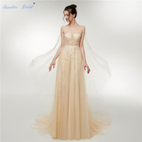 Sapphire Bridal Vestido De Noiva Champagne Tulle Illusion Simple Bridal Wedding Gowns Wedding Dress With Cathedral Cape