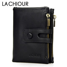 цена на Lachiour Genuine Leather Wallet Men Hasp Leather Clutch Coin Bag Purse Male Card Holder Wallets Dollar Pirce Men Money Wallet