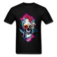High Quality Mens Tops Shirt Floral Skull Tshirt Men Blue Custom T-shirts 100% Cotton Short Sleeve Summer Tee Hip Hop Clothes цена