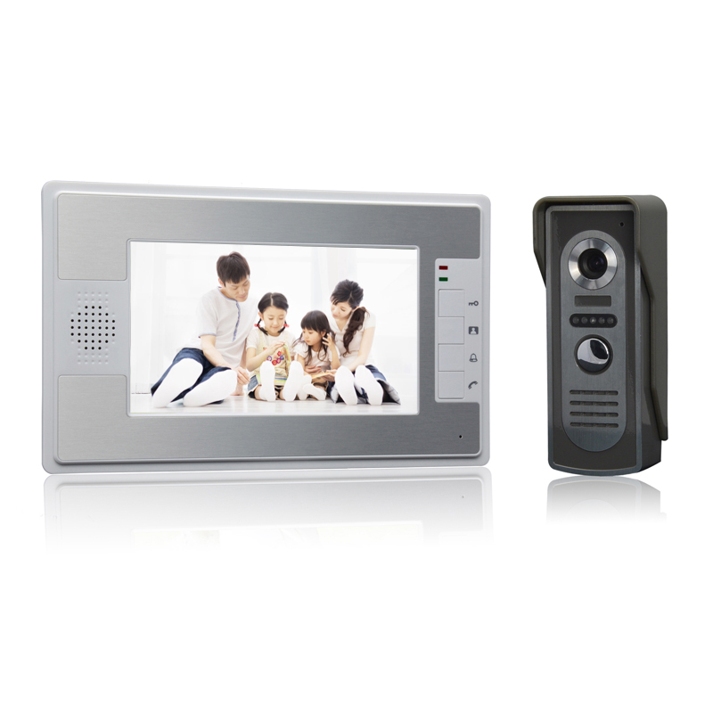 (1 set) NEW color screen 7 inch 1 to 1 Video intercom with waterproof camera night version talk-back door access control system