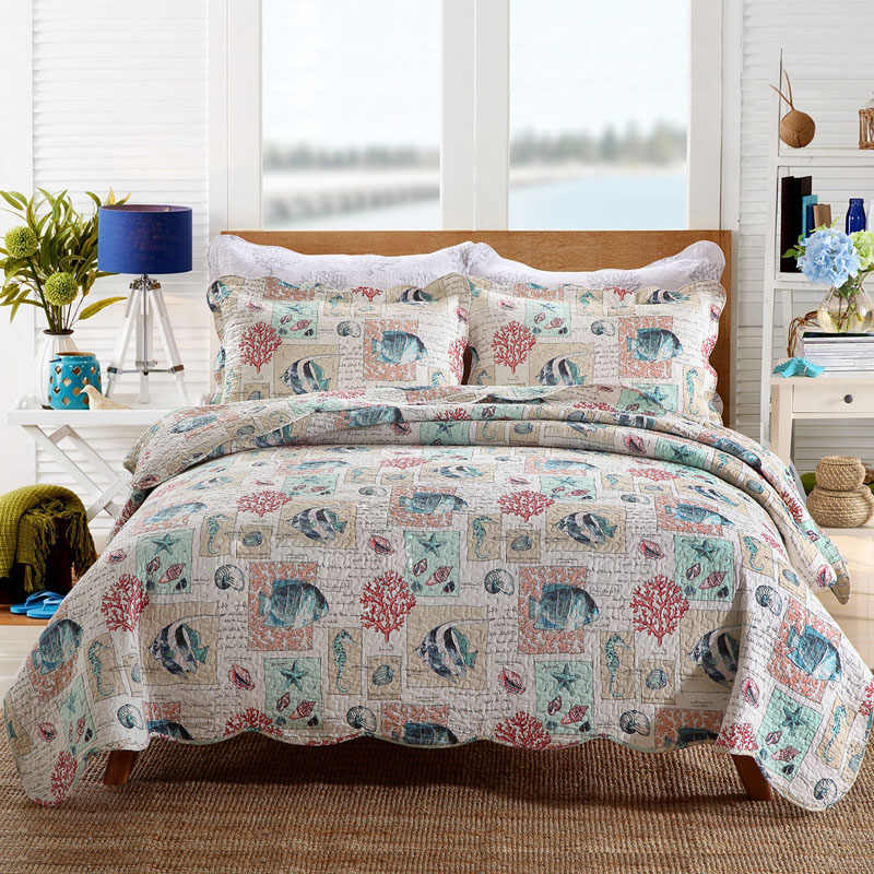 Marine Printed Bedspread Quilt Set 3pcs Cotton Quilts Quilted