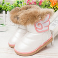 Winter Girls Boots 2016 Winter Warm Wool Cloth With Soft Nap Of Rabbit Hair Fur Rubber Soles Children Snow Boots Kids Shoes