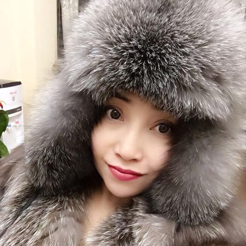1ebced90a6fc4 Detail Feedback Questions about mOn Sale 100% Real Fox fur Women s Russian  Ushanka Aviator trapper snow skiing Hat caps earflap winter raccoon fur  Bomber ...