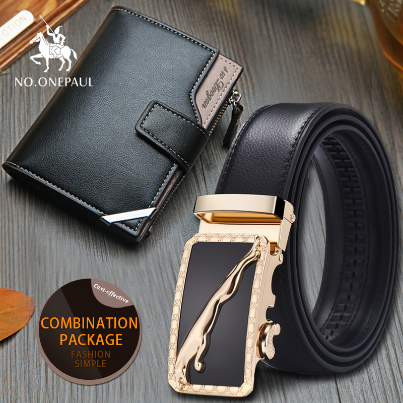 Set/sets Suit Brand Belt  New Designer Leather Strap Male Automatic Buckle For Men Girdle  Men Belt Wallet Fashion Trend Gift