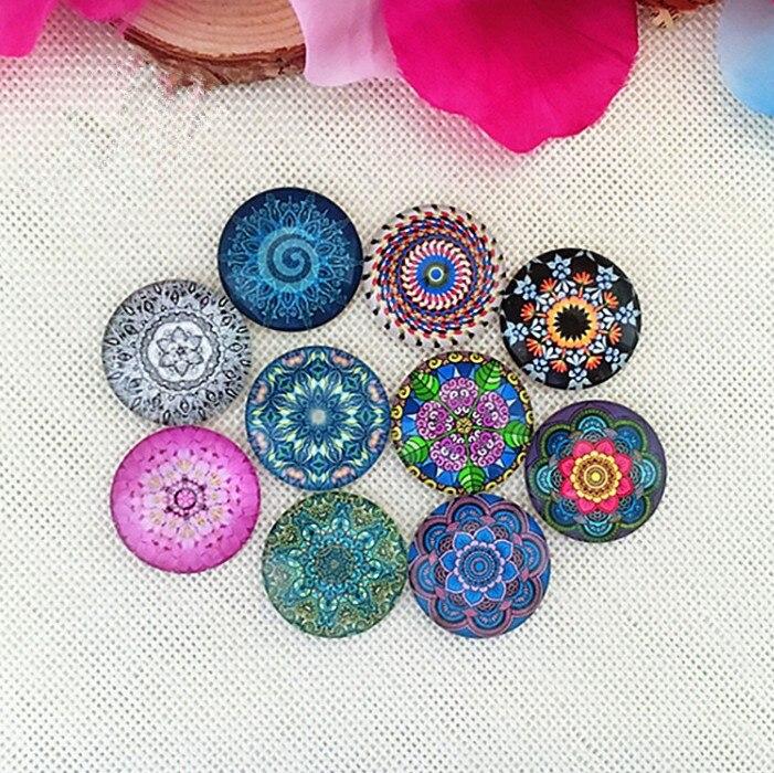 50pcs Glass Mosaic Art Round Flatback Glass Dome Cabochons Gems Jewelry Making Handcrafts Scrapbooking (Kaleidoscope Pattern)