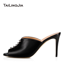 2018 Sexy trendy dressy Studs Party Studded Heeled Nude Sandals Slides Peep Toe Slip on Ladies Womens Black Heels Mules Shoes