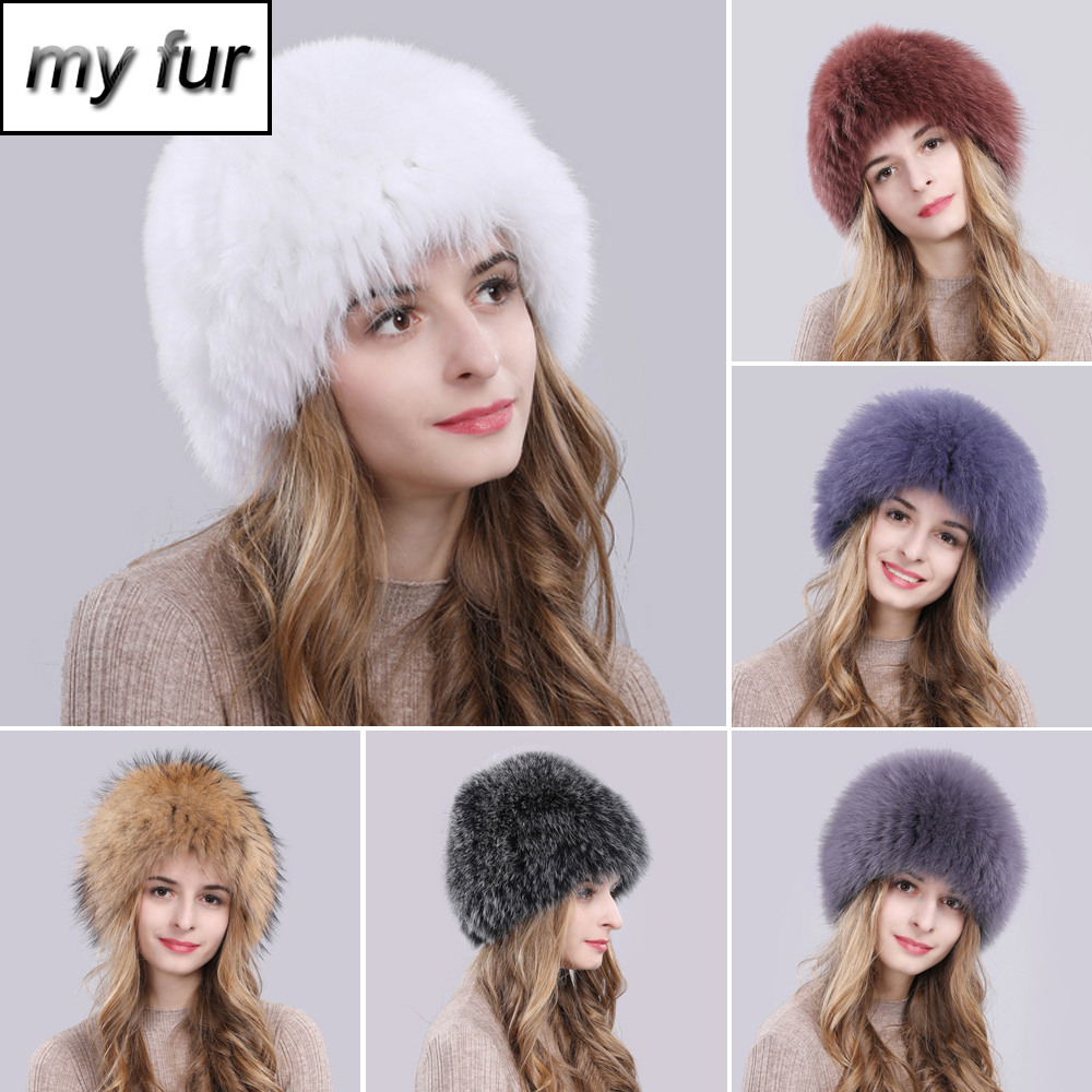 2019 Hot Sale 100 Natural Real Fox Fur Hat Women Winter Knitted Real Fox Fur Bomber