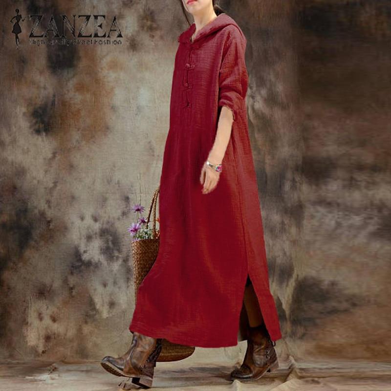 ZANZEA 2019 для женщин с длинным рукавом Осень Вечеринка длинное платье более Размеры d Элегантный капюшоном Vestidos мешковатые Платье-туника плюс