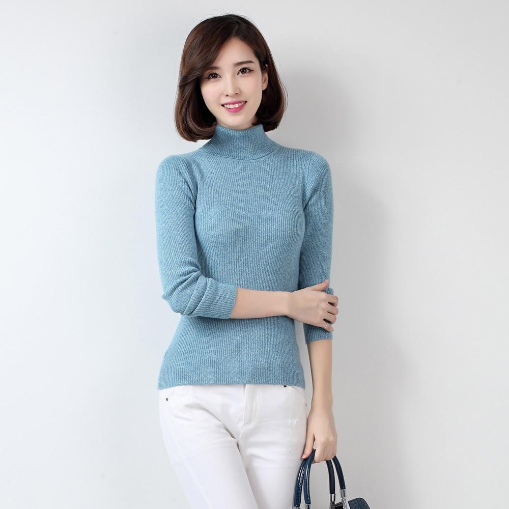 2014 women's slim cashmere sweater shirt pumping basic sweater ...