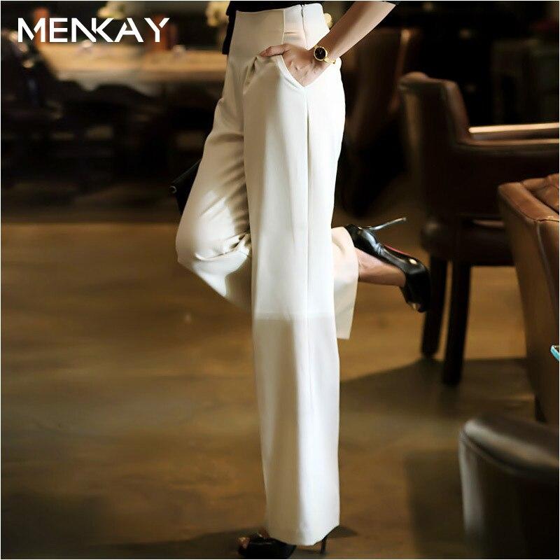 [MENKAY] 2018 printemps été nouvelle taille haute coréenne mince décontracté blanc lâche Long jambes larges pantalons femmes nouveaux vêtements de mode