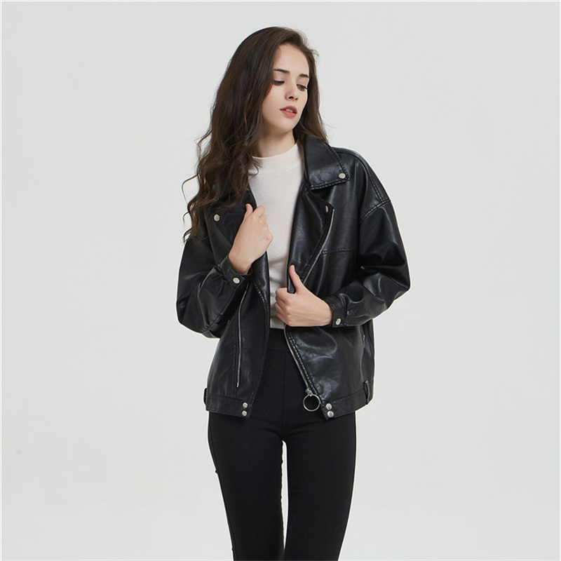 New Women's   Leather     Suede   Jacket Loose Lapel Motorcycle Jacket Fashion PU Women's Jacket Spring and Autumn Wear High Quality