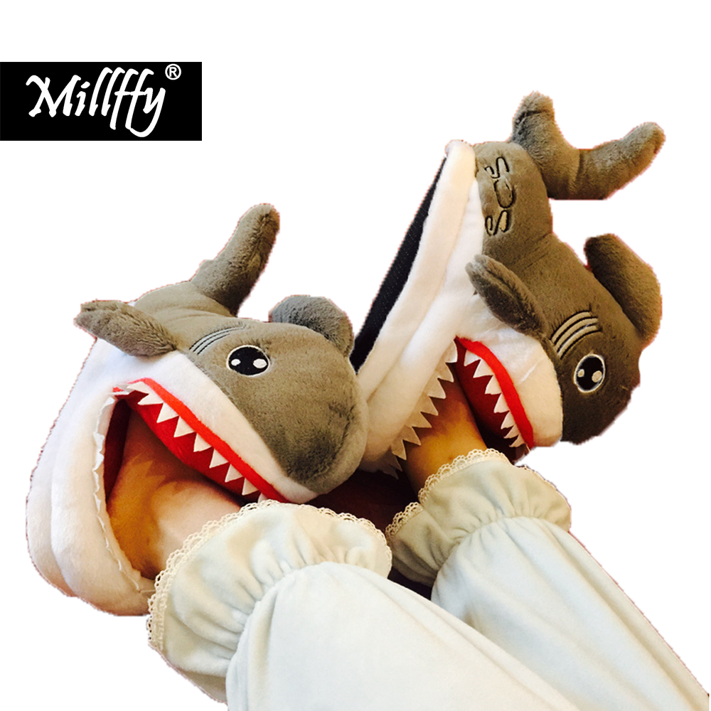 Winter Super Animal Funny Shoes For Men and Women Warm Soft Bottom Home&House Indoor Floor Shark Shape Furry Slippers Shallows suihyung funny rabbit shape women winter home slippers plush indoor floor shoes female warm furry soft bottom slippers chinelos