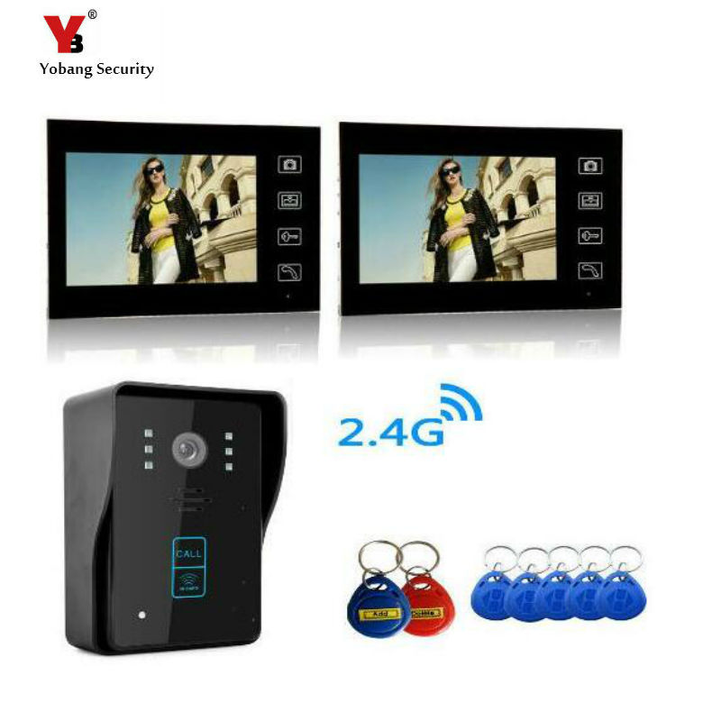 Yobang Security Freeship 7Video Door Phone Bell Wireless Intercom with RFID keyfobs Access Control Wireless Video