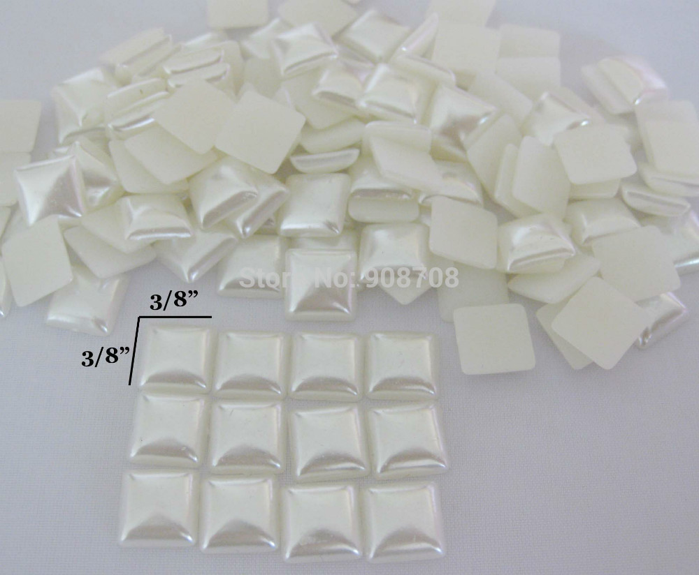 Free shipping 200Pcs Square Shape ivory flat back Pearl Buttons 10mm*10mm Craft Clothing Accessory