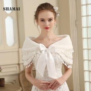 Image 1 - SHAMAI Women Faux Fur Winter Autumn Warm Bridal  Lace Wedding Wrap Stole Bolero Scarf Wedding party Cape