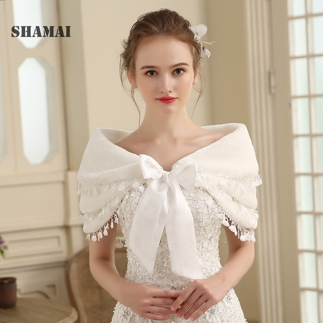 SHAMAI Women Faux Fur Winter Autumn Warm Bridal  Lace Wedding Wrap Stole Bolero Scarf Wedding party Cape