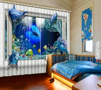 Cute Blue Underwater World Pattern Blackout 3D Curtains For Bedroom Living Room Curtains Accept Customization Any