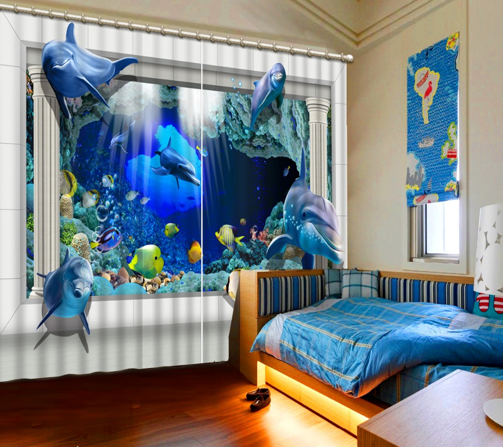 Cute Blue Underwater World Pattern Blackout 3D Curtains For Bedroom Living Room Accept Customization Any