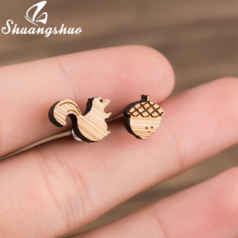 Shuangshuo Squirrel and Pine Nut Stud Earrings Small Handmade Animal Wooden Earrings Lovely Squirrel Earing For Women Jewelry