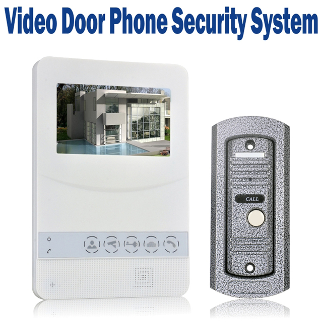 Video Door Phone Wired 4.3 inch TFT LCD Doorbell Monitor with 700 TVL IR Camera Metal Outdoor Video Intercom  Unit