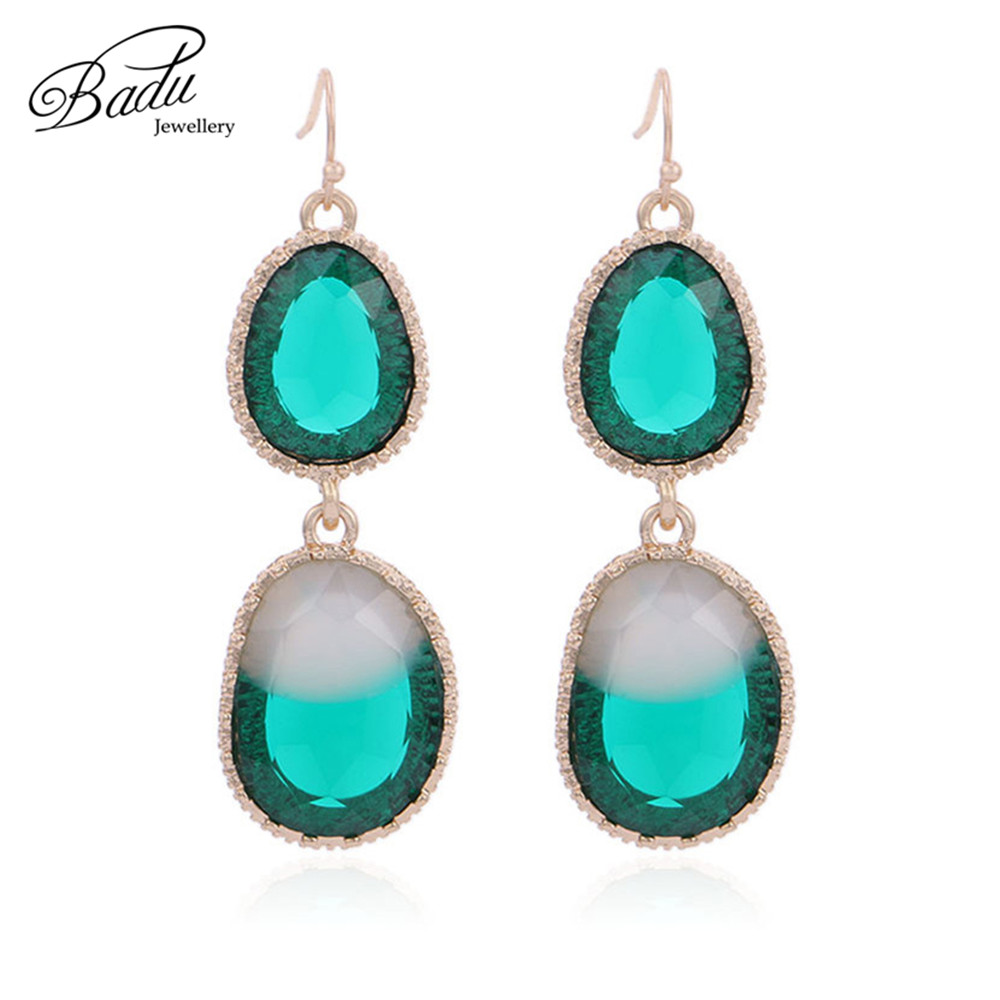 Badu Green Crystal Earring Women Baroque Vintage Party Jewelry for Wedding Engagement Luxury Bohemian Earrings Dropshipping