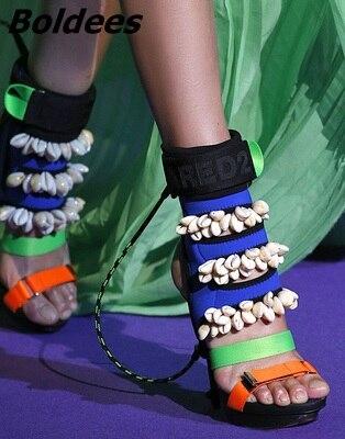 Tacón Alto Sandalias Boldees Mujeres Nuevo Punta Nightculb Botines Conchas Diseño Con Thin Zapatos Decoración Estilo Color Patchwork Abierta XgFwXY