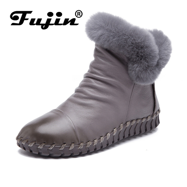2019 Women Shoes moccasins Female Genuine Leather Boots Handmade Vintage Style Ankle zip Fashion soft winter fur ankle shoes