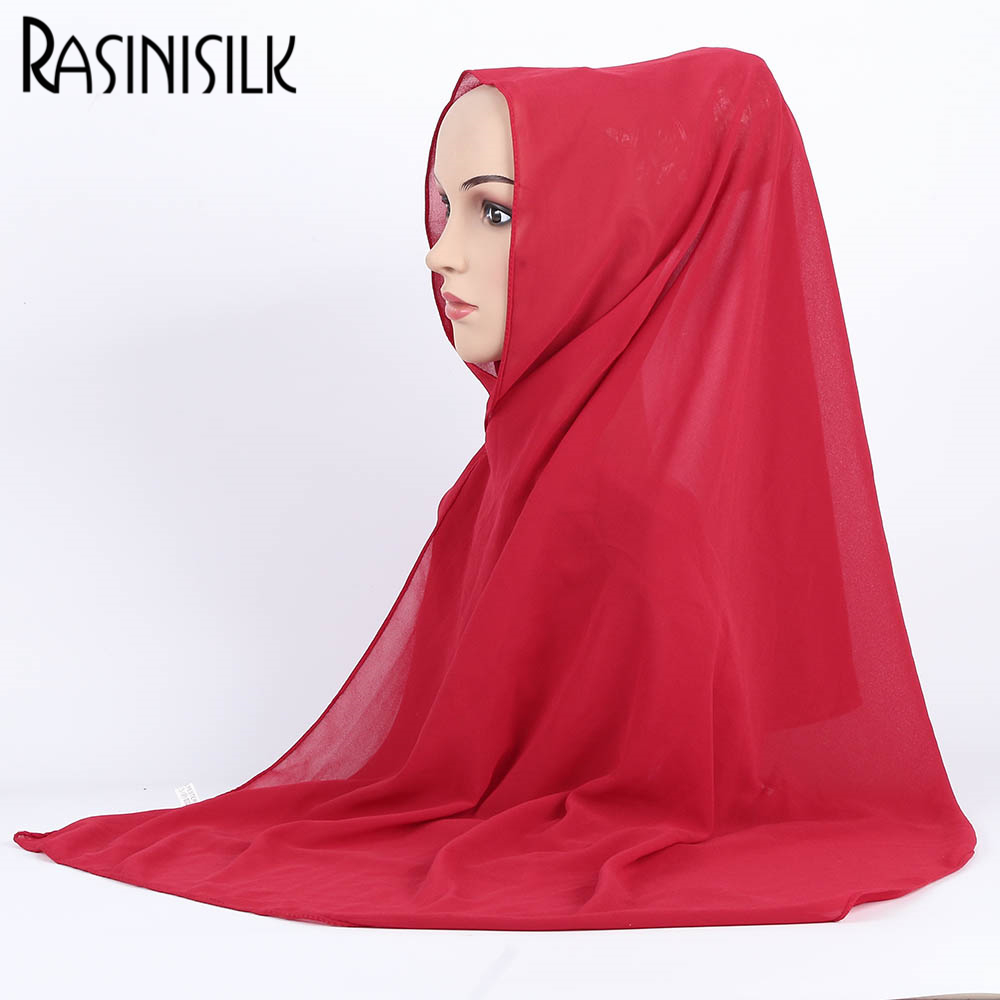 RASINISILK Turkish Hijab Style Women Muslim Hijab Solid Scarve Ornamental Shawl Muslim Head Coverings Hoofddoek Moslima #A006