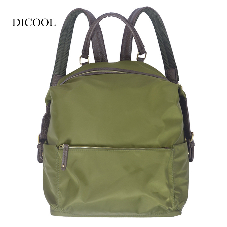 2018 High Quality Nylon Women Backpacks Fashion School Student Bag Traveling Backpack Waterproof Mini Bag Black Army Green Color