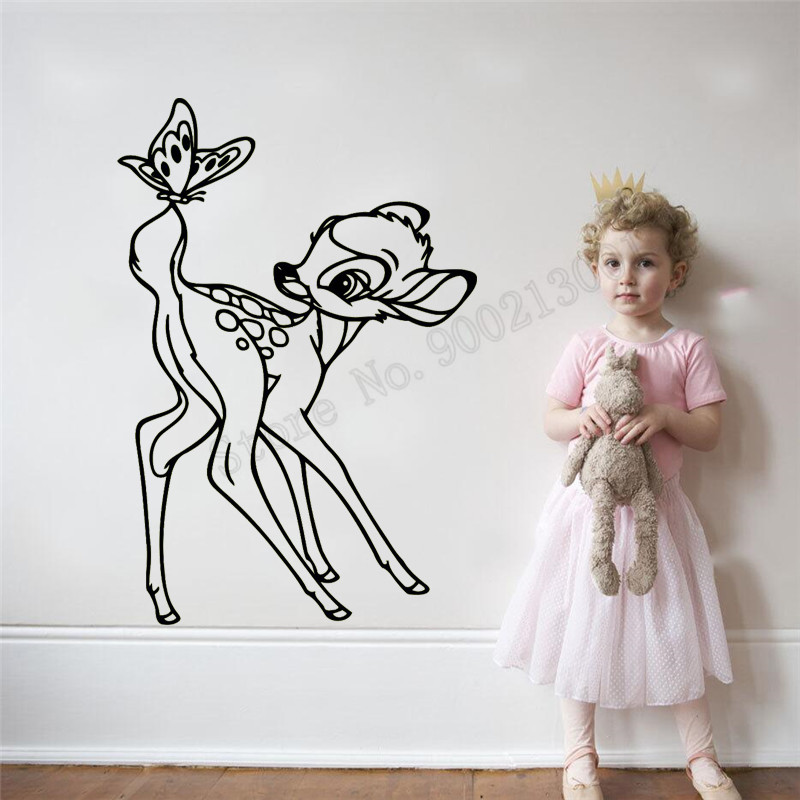 Cartoon Small Deer With Butterfly Wall Sticker Vinyl Art Removeable Design Diy Poster Decoration Lovely Cute Decals LY1087