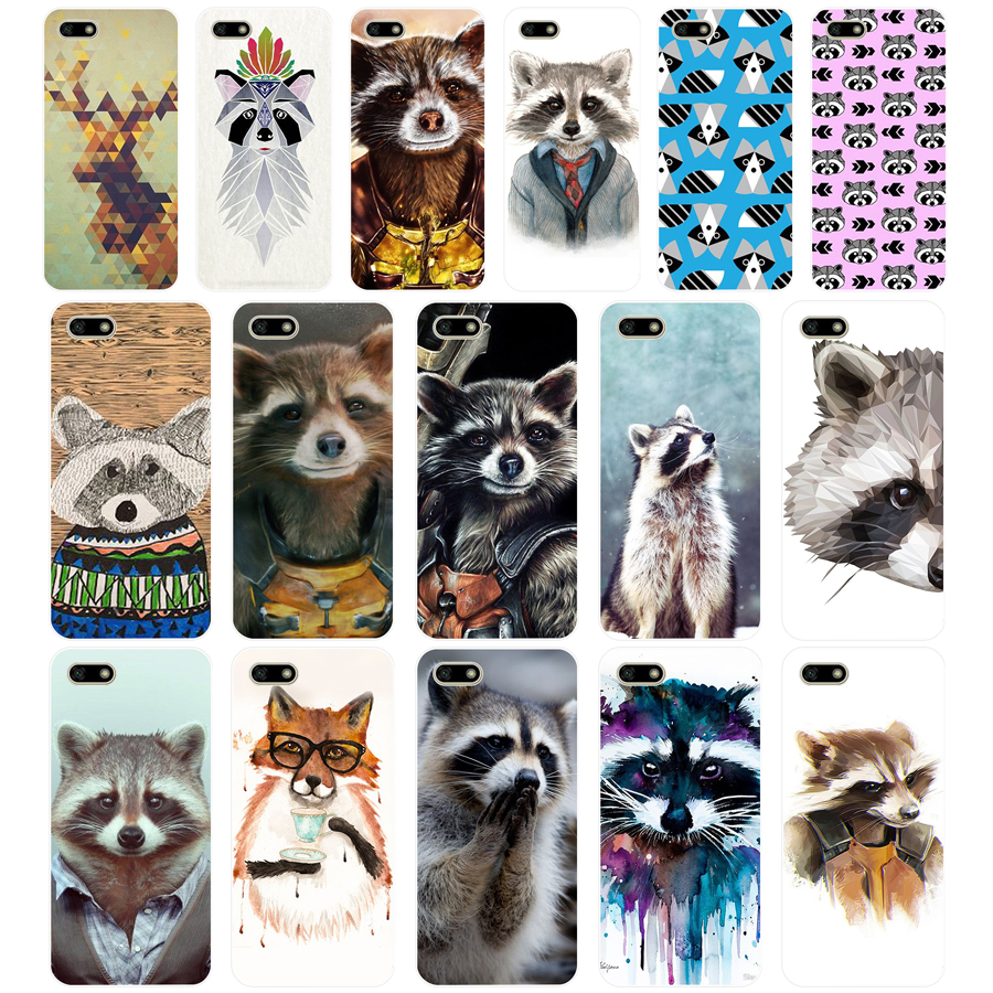 28G Cute Raccoon TPU Soft Silicone Case For Huawei Honor 7C 7a 5.7 inch 7x 8x 7a 5.45 Y5 2018 Russian version Cover