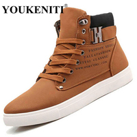 YOUKENITI Hot Men Shoes Fashion Warm Fur Winter Men Boots Autumn Leather Footwear For Man New High Top Canvas Casual Shoes Men