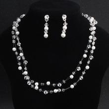 LISM Popular Woven Pearl Necklace Stud Earring Rhinestone Bride Jewelry Set For Women Wedding