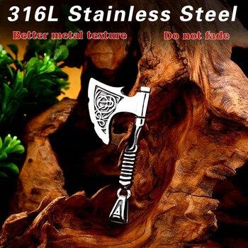 Beier 316L Acero inoxidable símbolo de Odin hacha rúnica amuleto de colgante escandinavo nariz vikingo hacha rúnica joyería LP308