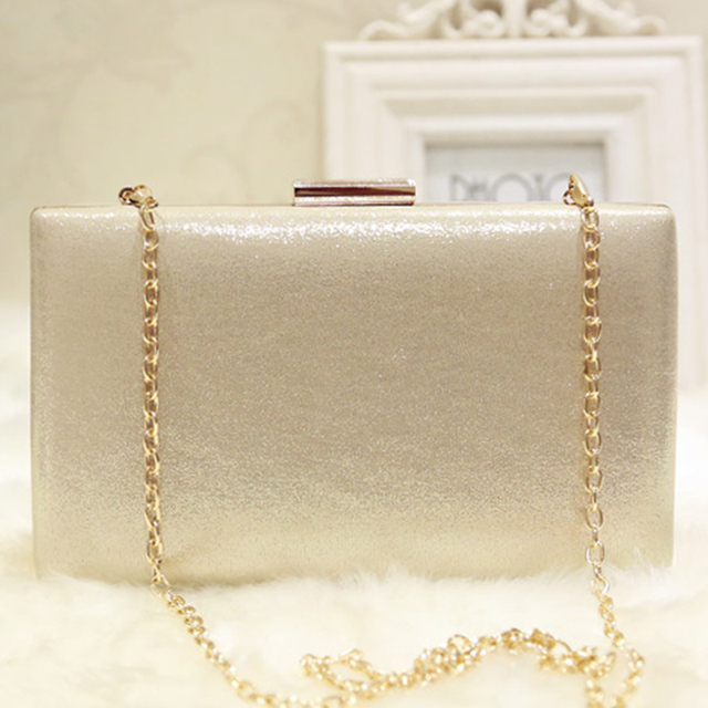 d465482a3 Simple Nude Women Evening Clutch Bag Gold White Ladies Luxury Clutch Bag  for Party Wedding Chain