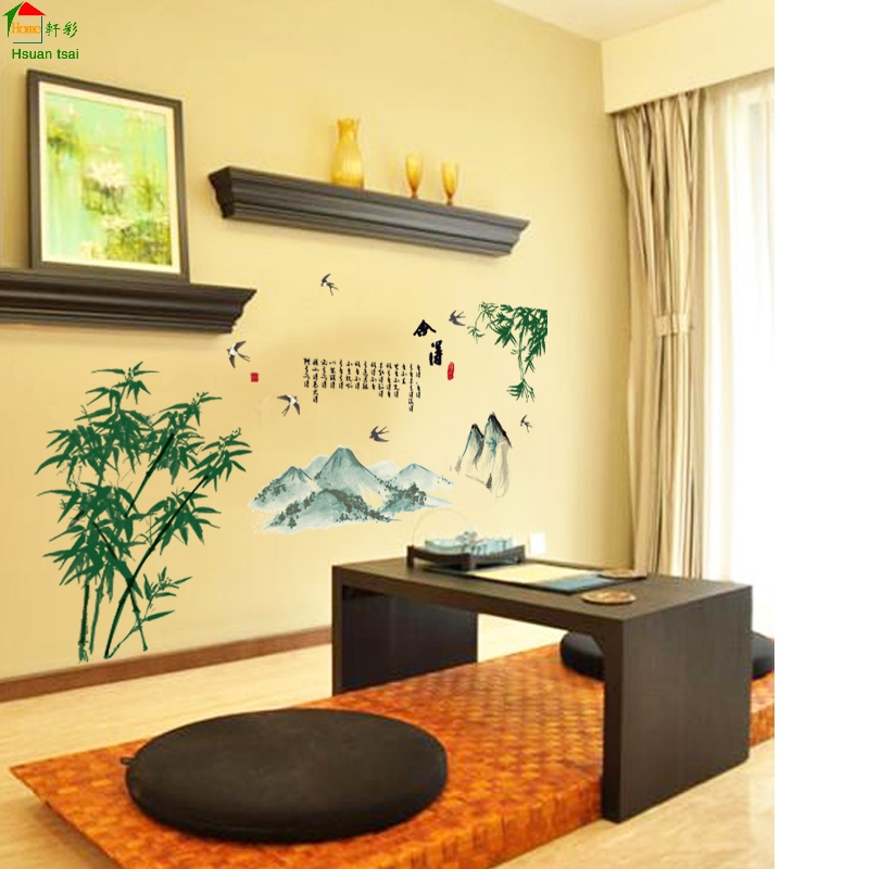 Green bamboo leaves sofa DIY Vinyl Wall Stickers For Kids Rooms Home ...