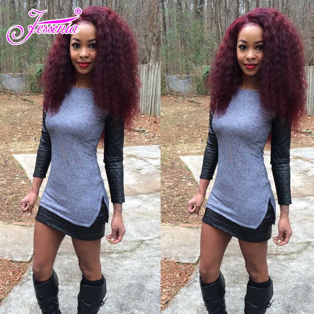 Jessenia włosy brazylijskie kręcone splot wiązki 99j 100% ludzkie włosy wyplata 3 wiązki oferty Red Remy włosy pasma do przedłużania włosów